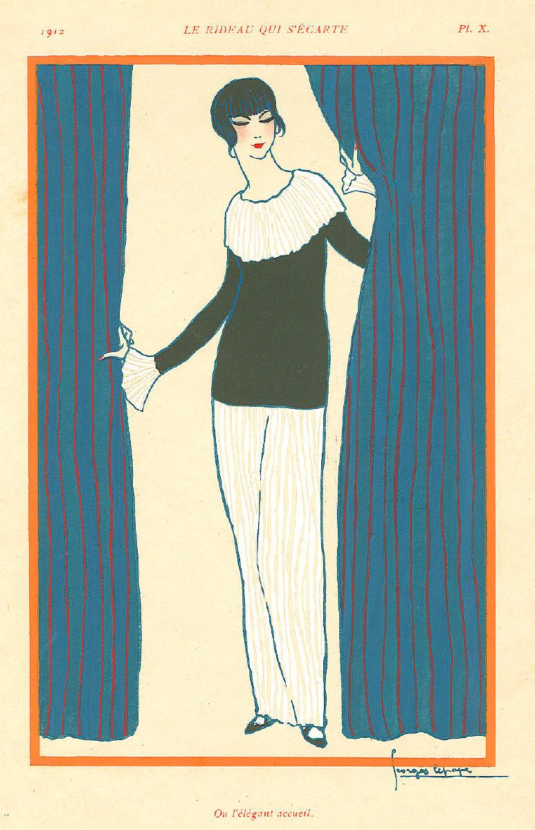 georges lepapes artwork titled le rideau qui secarte